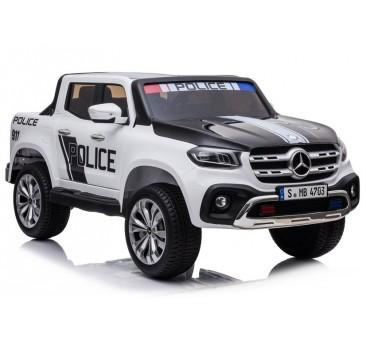 Policijos elektromobilis XMX606 MERCEDES, 4x4, 2x12V, baltas