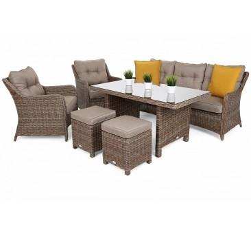 Lauko baldų komplektas KALIFORNIA DINING GINGER/BROWN MELANGE PLUS + pufai