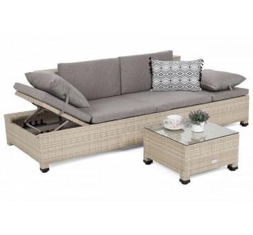 Lauko sofa MILANE BEIGE/BEIGE MELANGE + staliukas