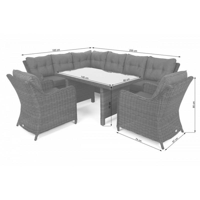 Lauko baldų komplektas KALIFORNIA DINING GINGER/BROWN MELANGE (kairinis)