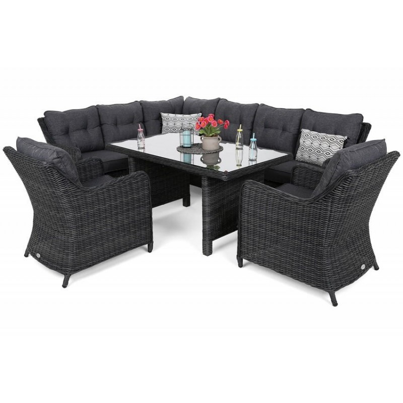 Lauko baldų komplektas KALIFORNIA DINING GREY/GREY MELANGE (kairinis)