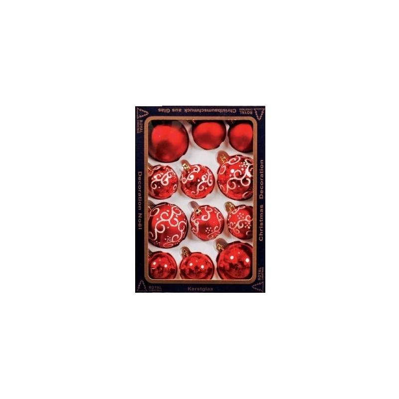 Raudonų žaisliukų eglutei rinkinys, plastikiniai, 12 vnt