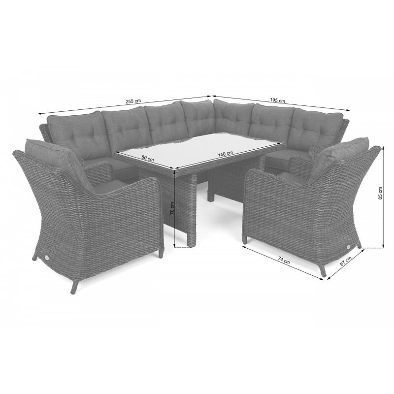 Lauko baldų komplektas KALIFORNIA DINING GINGER/BROWN MELANGE (dešininis)