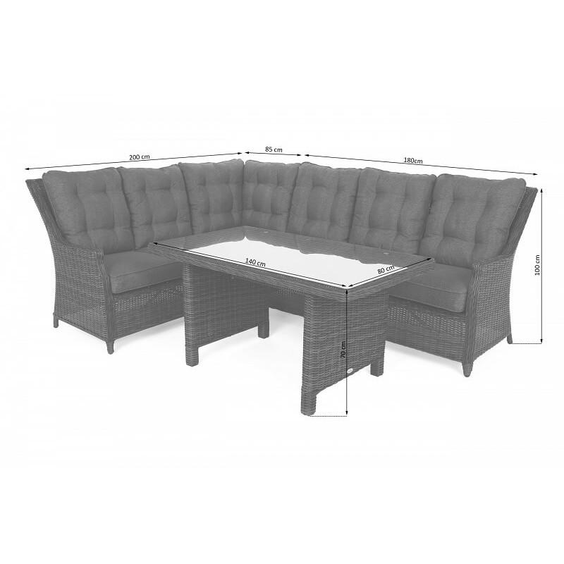 Lauko baldai ALIKANTE GREY/ GREY MELANGE (kairinis)