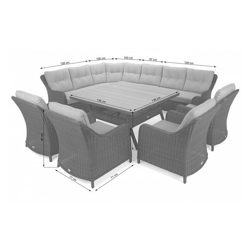 Lauko baldų komplektas WINTSOR DINING GREY/GREY MELANGE