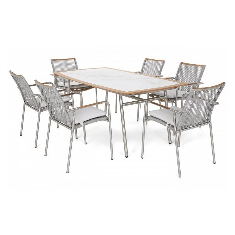 Lauko valgomojo baldai GENUJA SILVER/GREY 6+1