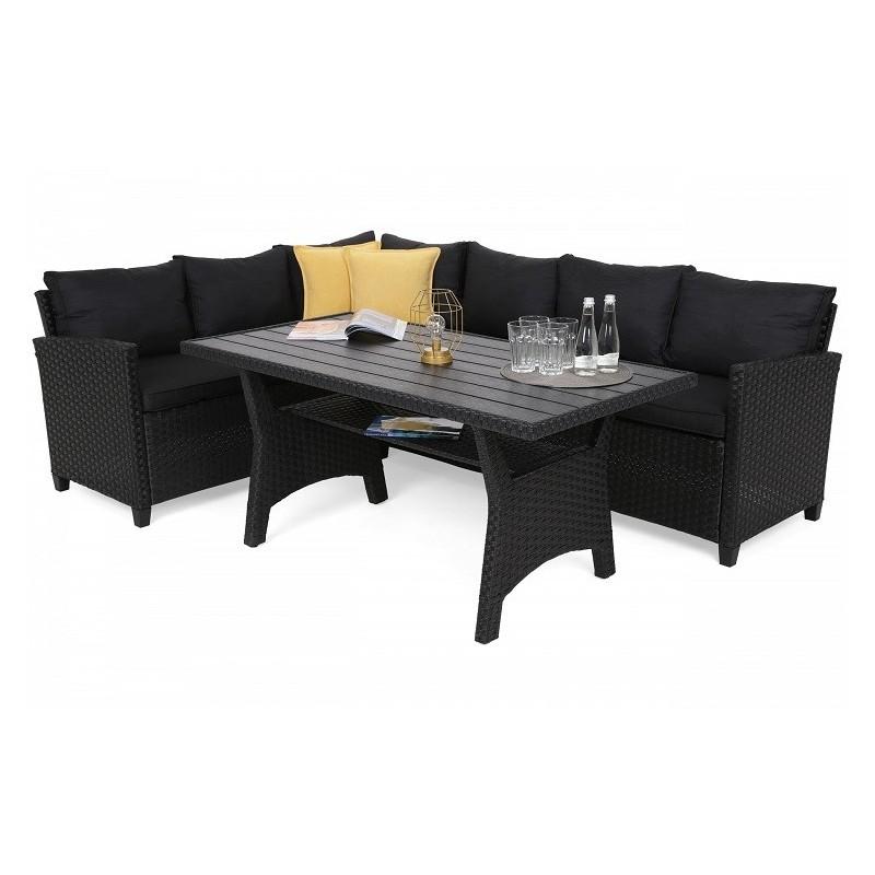 Lauko baldų komplektas LAROS DINING DARK GREY/GREY MELANGE