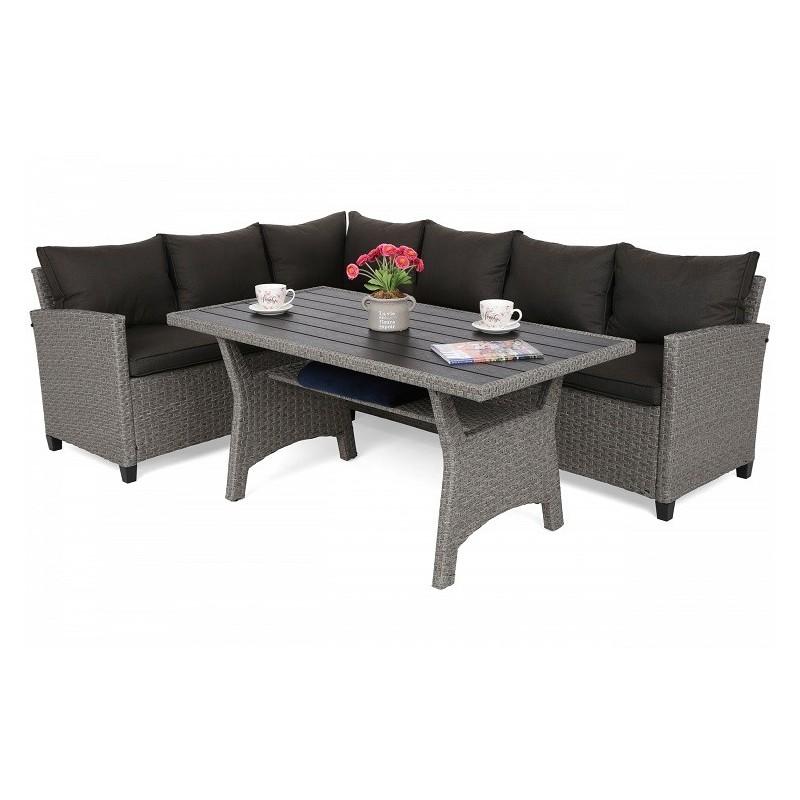 Lauko baldų komplektas LAROS DINING GREY/BLACK MELANGE