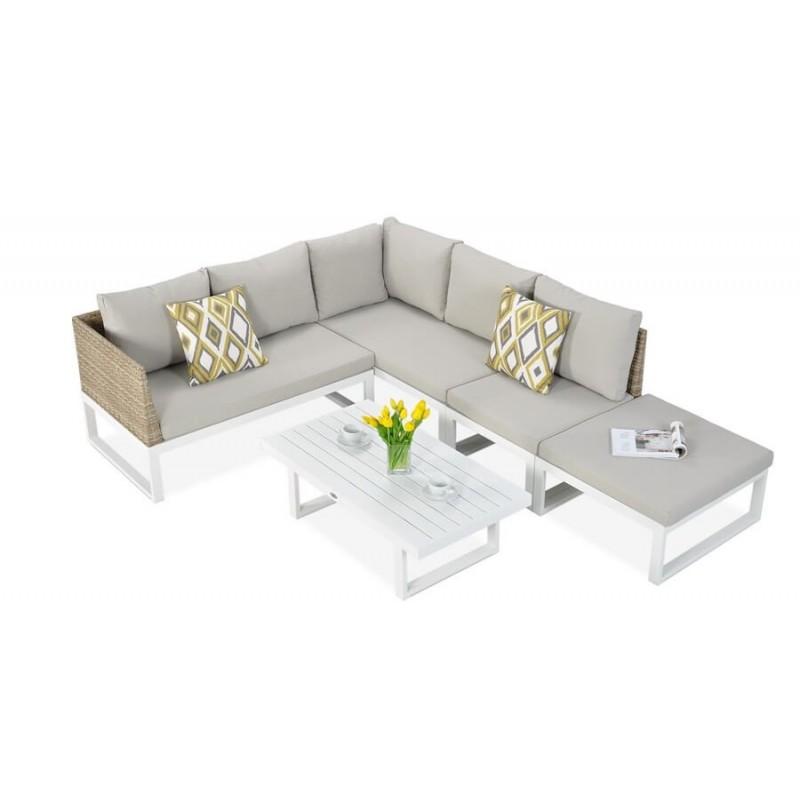 Lauko baldų komplektas DAVOS WHITE