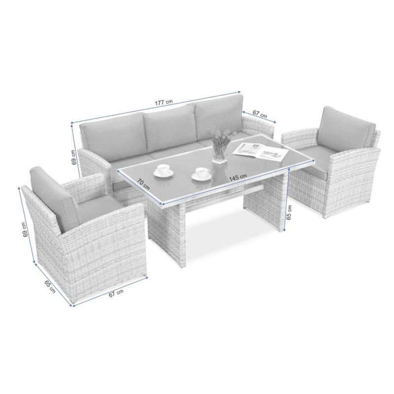 BORNEO WHITE GREY lauko baldų komplektas