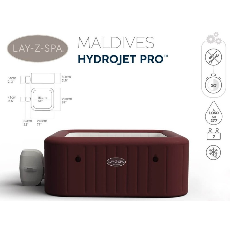 Sūkurinė vonia BESTWAY LAY-Z-SPA MLDIVES, 5 - 7 asmenims