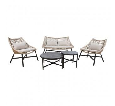 Sodo baldų komplektas HELSINKI, sofa, 2 kėdės ir 2 stalai