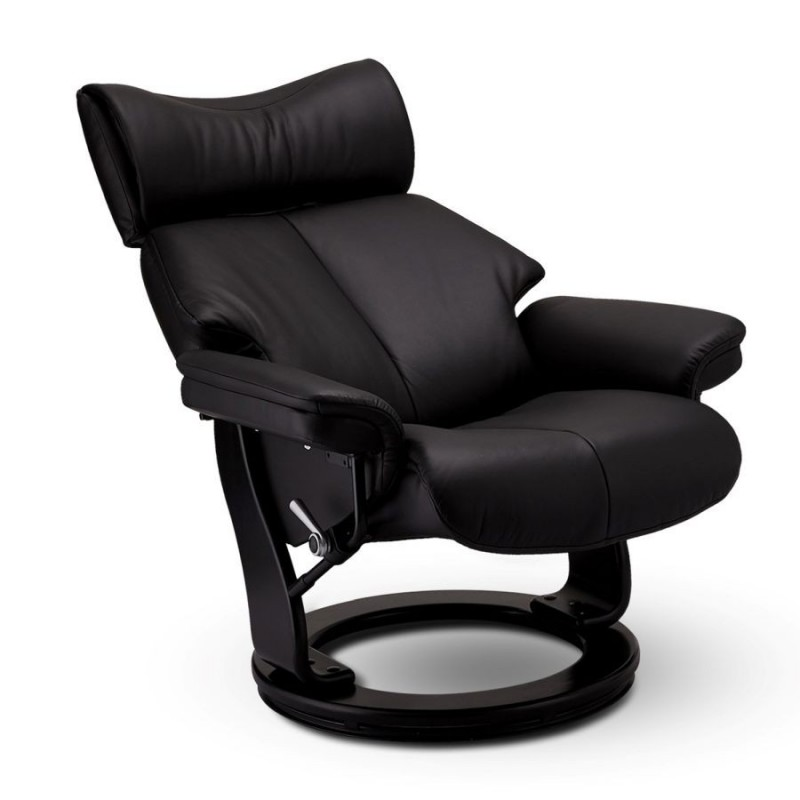 Fotelis TOLEDO su kojų suoleliu, juodas