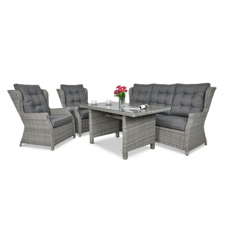 Lauko baldų komplektas TRAVENTO DINING 3 + pufai STONE GREY