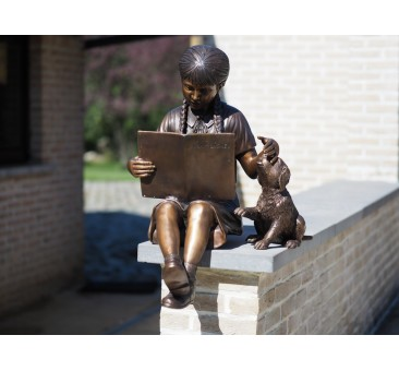 Sodo skulptūra Mergina ant suolo, 80x65x102