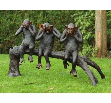 Sodo skulptūra 3 beždžionės ant medžio, 67x55x108