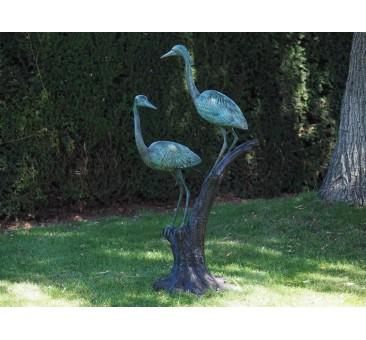 Sodo skulptūra 2 garniai ant šakos, 130x42x68