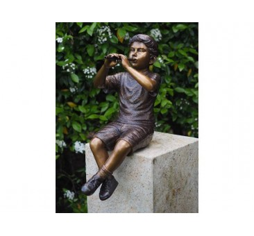 Sodo skulptūra Berniukas su fleita, 75x39x32
