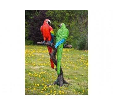 Sodo skulptūra 2 spalvotos papūgos ant medžio kamieno, 175x66x93