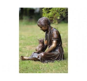 Sodo skulptūra Mergaitė su kate, 62x45x55