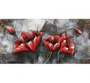 3D metalo paveikslas Raudonos gėlės, 120x60x8