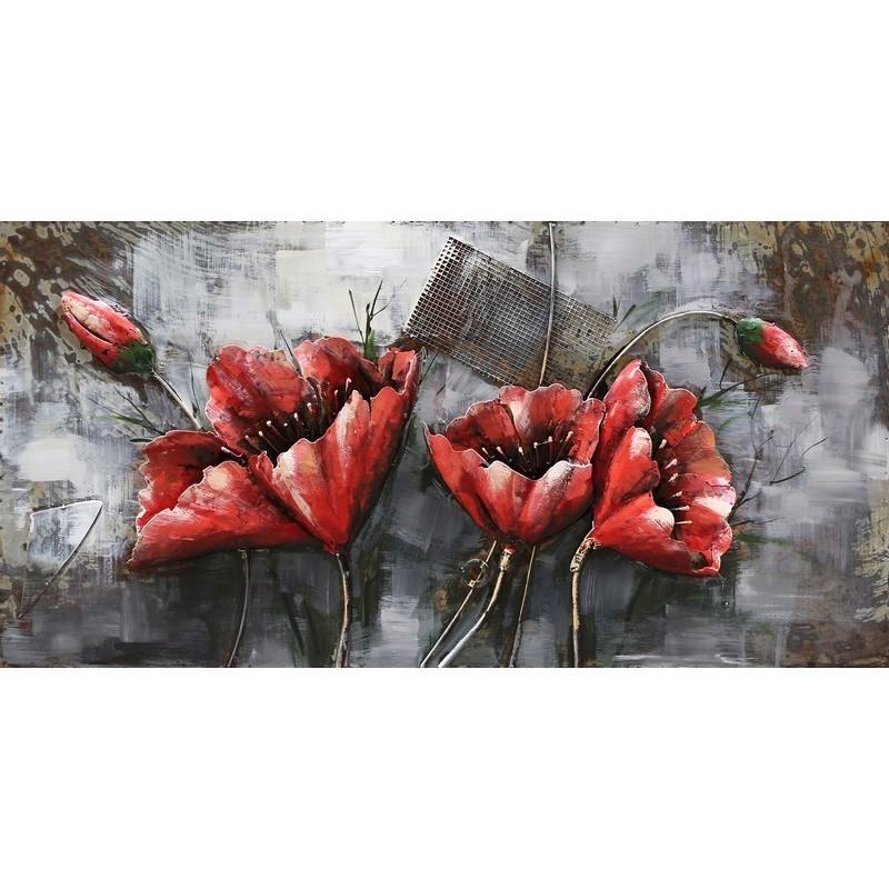 Paveikslas Raudonos gėlės, 120x60x8