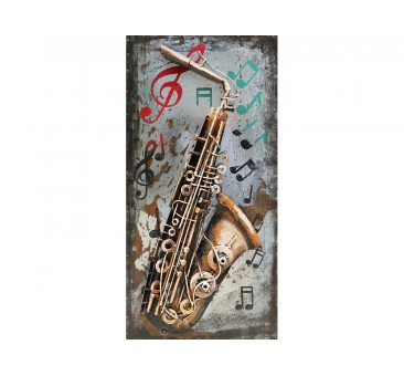 3D metalo paveikslas Saksofonas, 80x40