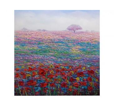 Paveikslas Violetinės, raudonos gėlės, 100x100