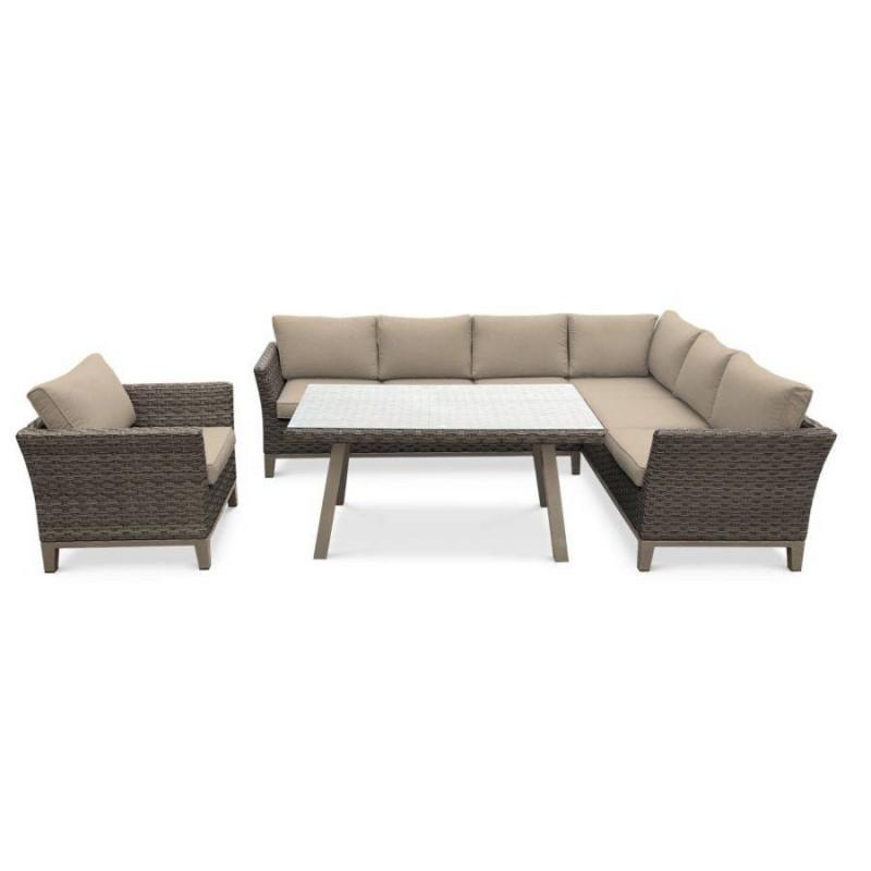 Baldų komplektas MALAGA + fotelis rudas