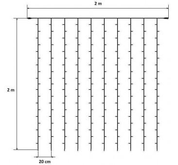 LED užuolaida HOBBY LINE 2x2m,  šiltai balta, 200 diodų
