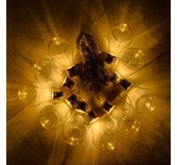 Lempučių girlianda su saulės baterija 5m, šiltai balta