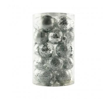 Žaisliukų eglutei rinkinys 25vnt sidabriniai 6cm