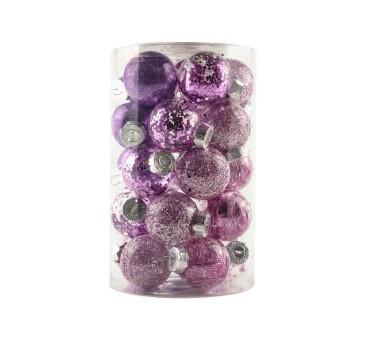 Žaisliukų eglutei rinkinys 25vnt violetiniai 6cm