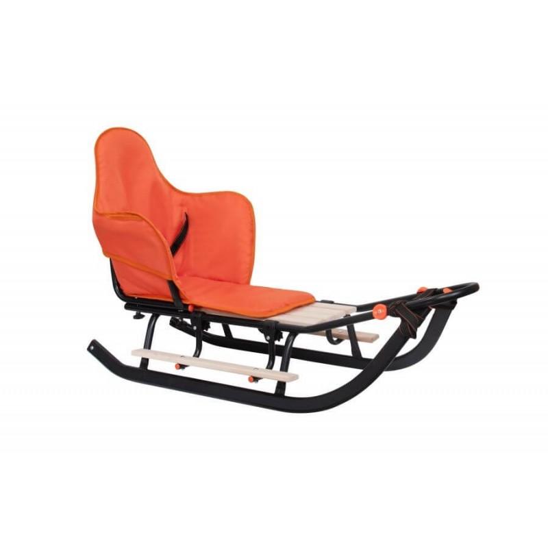 Vienvietės SNIEGO ROGĖS su sėdyne ir rankena, juoda, oranžinė