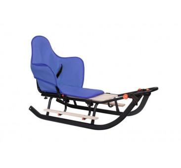 Vienvietės SNIEGO ROGĖS su sėdyne ir rankena, juoda, mėlyna