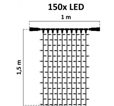 LED girlianda užuolaida 150 diodų 1 m H 1,5 m šiltai balta FLASH, IP67