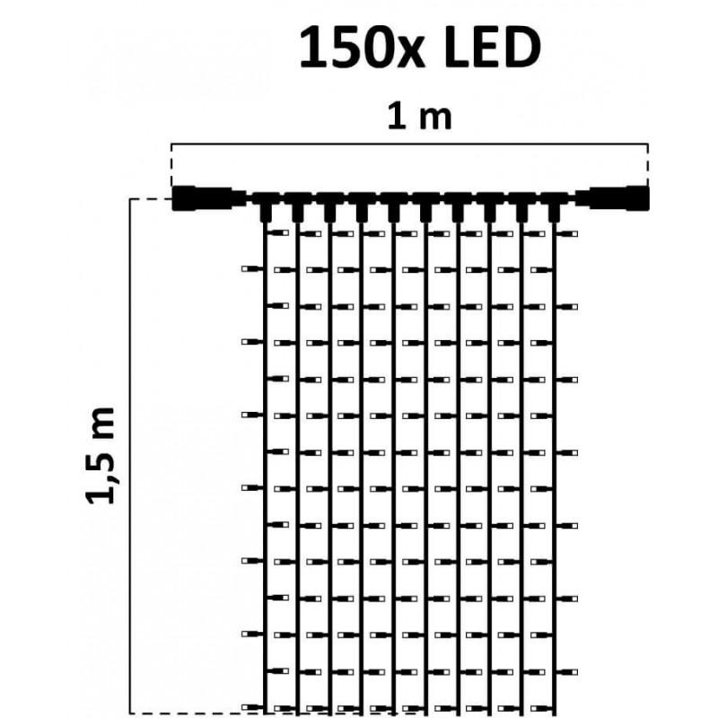 LED girlianda užuolaida 150 diodų 1 m H 1,5 m šaltai balta FLASH