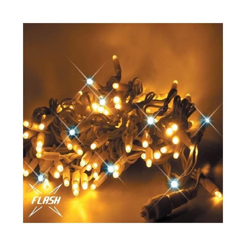 LED girlianda 5m, 60 diodų, šiltai balta, FLASH, IP67