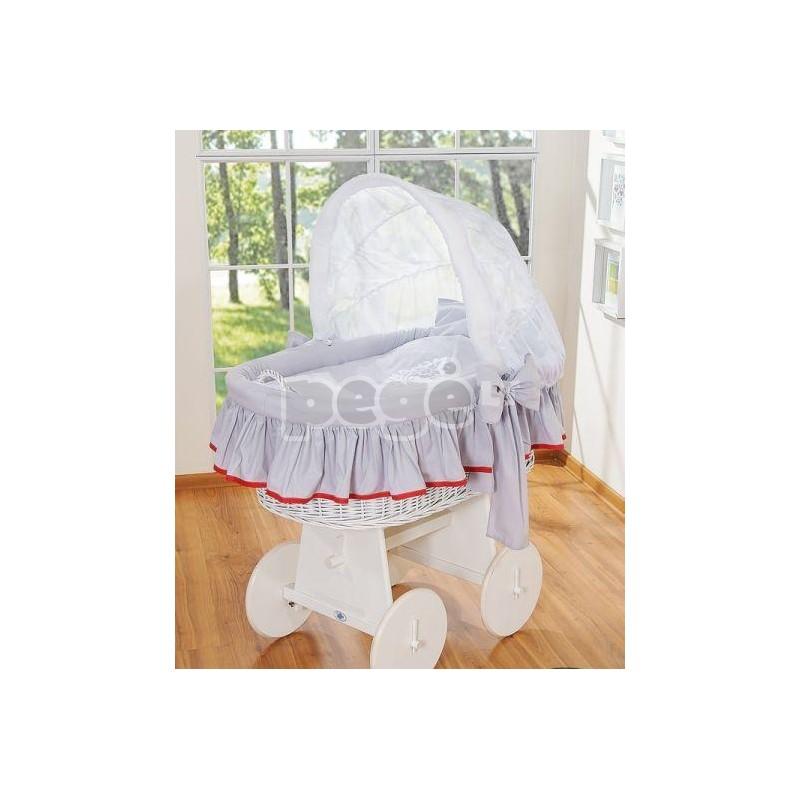 Baltas pintas krepšys ant ratų