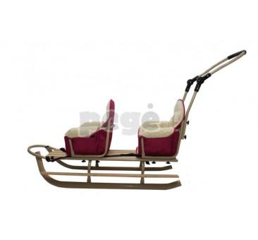 Dvivietės rogutės smėlio spalvos su purpurinėm sėdynėm