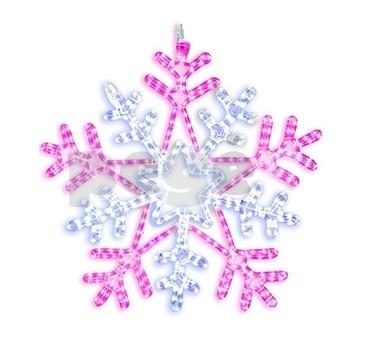 LED šviečianti snaigė 75 cm balta/rožinė