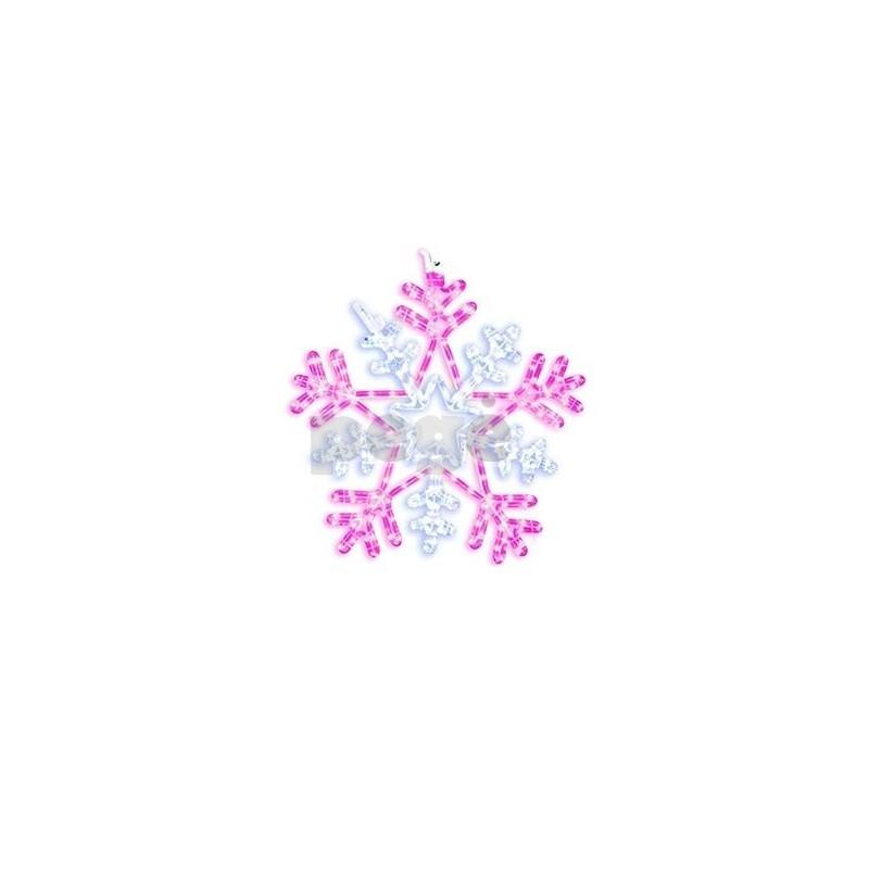 LED šviečianti snaigė 50 cm 252 LED rožinė/balta