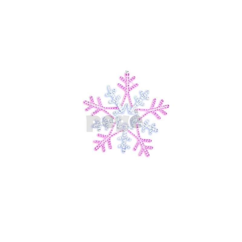 LED šviečianti snaigė 100 cm rožinė/balta
