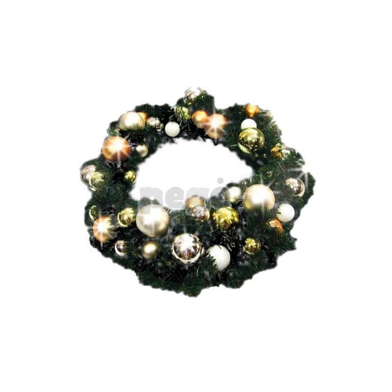 Kalėdinis vainikas INA su dekoracijomis, 60 cm