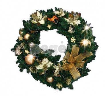 Kalėdinis vainikas su dekoracijomis EMA, 60 cm