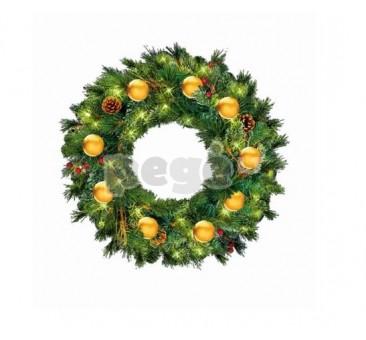 Kalėdinis vainikas LAURA su dekoracijomis, 100 cm