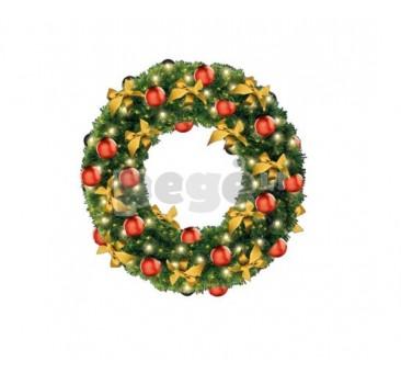 Kalėdinis vainikas INETA su dekoracijomis, 100 cm